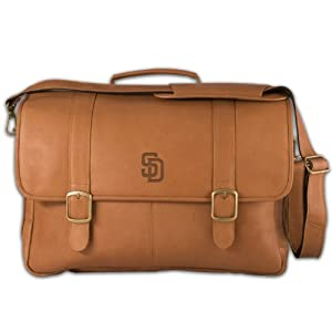 MLB San Diego Padres Tan Leather Porthole Laptop Briefcase by Pangea Brands