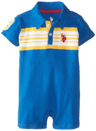 U.S. Polo Assn. Baby-Boys Newborn Chest Stripe Cut And Sew Polo Romper, Strong Blue, 3-6 Months front-272375