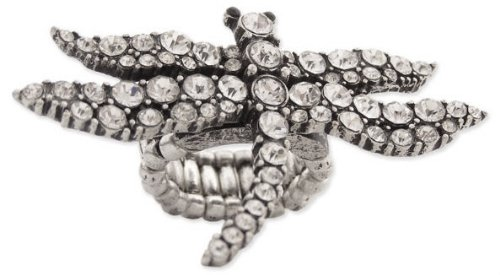 Trendy ZAD Ice Crystal Covered Large Dragonfly Stretch Ring Antique Silver Tone – XX Wide Covers 2-3 Fingers