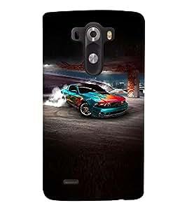 Fuson Premium Car On Track Printed Hard Plastic Back Case Cover for LG G3