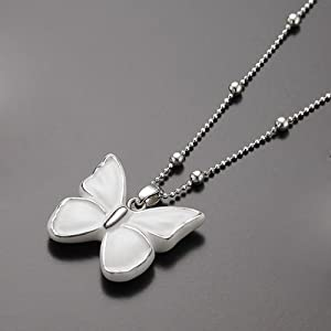 Ceramic Butterfly Design Pottery Porcelain White Gold Pendant Sterling Silver Chain Necklace