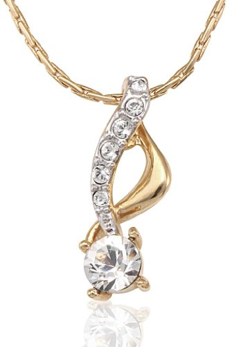 Lifestyle Infinity Lifestyle Gold Plated Clear Crystal Round Necklace For Women (751485G) (Transperant)