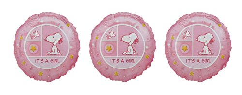 3 Snoopy Its A Girl Mylar Balloons/ Multi Pack Of 3 Foil Balloon front-986350