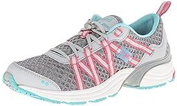 RYKA Women\'s Hydro Sport Water Shoe Cross-Training Shoe, Silver Cloud/Cool Mist Grey/Winter Blue/Pink, 8.5 M US