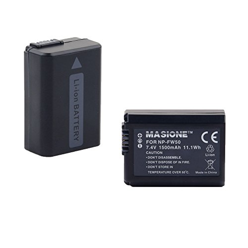2x Masione NP-FW50 7.4V 1500mAh Replacement Battery for Sony Alpha NEX-3, NEX-3N, NEX-5, NEX-5R, NEX-5N, NEX-6, NEX-7, NEX-C3, NEX-F3, SLT-A33, SLT-A35, SLT-A37, SLT-A55V (Sony Nex 5 Battery compare prices)
