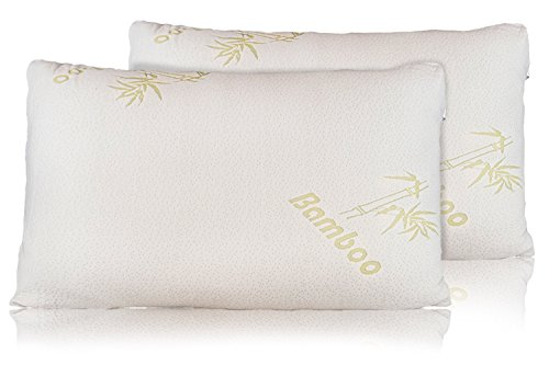 Big Save! Bamboo Pillow - Firm Shredded Memory Foam Set of 2 - Stay Cool Removable Cover With Zipper...