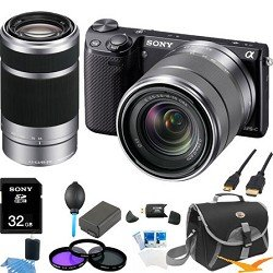 Sony NEX-5R NEX5R, NEX5RKB, NEX5RK 16.1 MP Compact Interchangeable Lens Digital Camera Black Wifi, With 18-55mm Lens and 55-210 Zoom Lens ULTIMATE BUNDLE with 32GB High Speed Card, Spare Battery, Filter Kit, Mini HDMI cable, Card reader, Case + More!