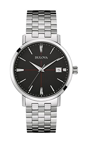 Bulova Aerojet Men's Quartz Watch with Black Dial Analogue Display and Silver Stainless Steel Bracelet 96B244