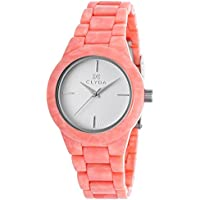 Clyda Salmon Acetate White Dial Silver-Tone Women's Watch