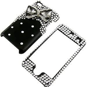 """Apple iPod Touch 4 Snap-on Protector Hard Case Rhinestone Cover """"Smoke Bow Tie on Shiny Black"""" Design"""