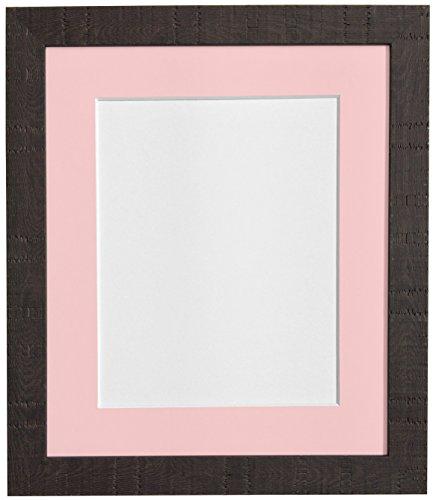 40 x 50 cm-Korn Bilderrahmen mit Passepartout und Glas Kunststoff Pink Bilderrahmen für DIN A3 Größe Dunkelbraun