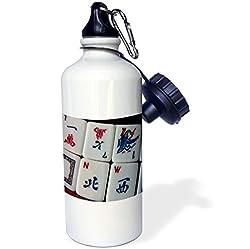 3dRose wb_12772_1 Luv Mah Jongg Sports Water Bottle, 21 oz, White