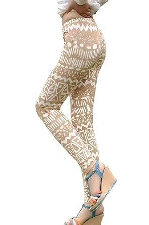 Amour- Women Popular Animal Pattern Ankle Length Footless Legging Tregging Tight (Beige)