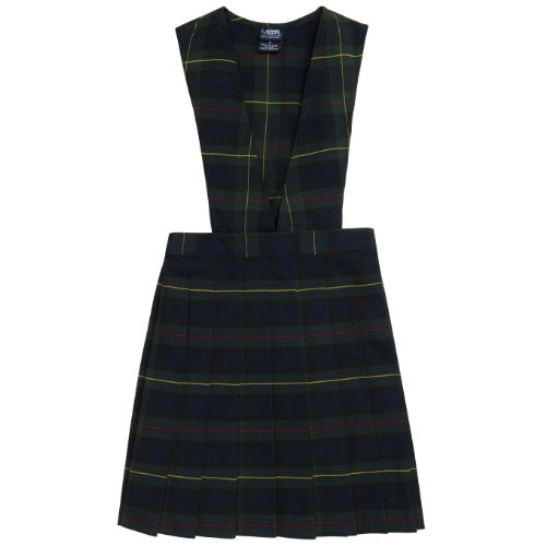French Toast School Uniforms V-Neck Pleated Plaid Jumper green plaid 6
