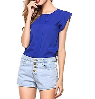 ARTEMISES Women's Sleeve Ruffle Shoulder Chiffon Tops Casual Shirt Tops Blouse