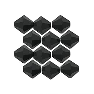 12 Jet Black Bicone Swarovski Crystal Beads 5301 3mm