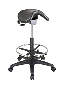 "Backless Stool with Saddle Seat and Adjustable Seat (Height Adjustment 25"" to 35"")"