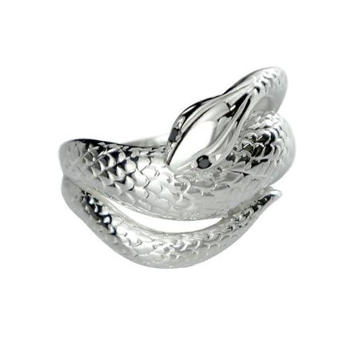[アトラス] Atrus スネークリング ブラックダイヤモンド シルバー925 SV925 蛇 リング 指輪 ヘビ 16号 ファッションリング