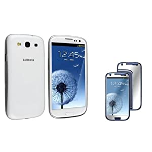 eForCity® Clear White Slim Snap-on Case + Mirror Screen Protector Compatible With Samsung? Galaxy S III/ S3