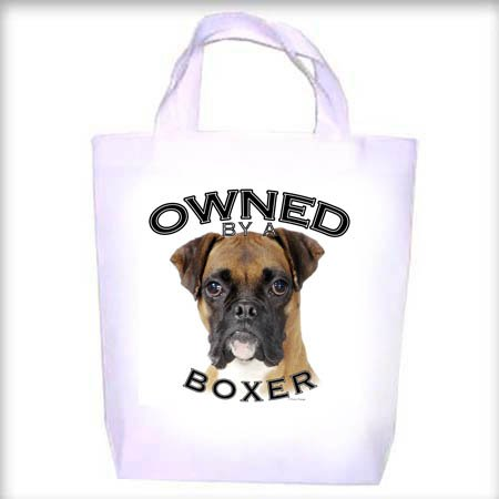 Boxer UNCROPPED Owned Shopping - Dog Toy - Tote Bag