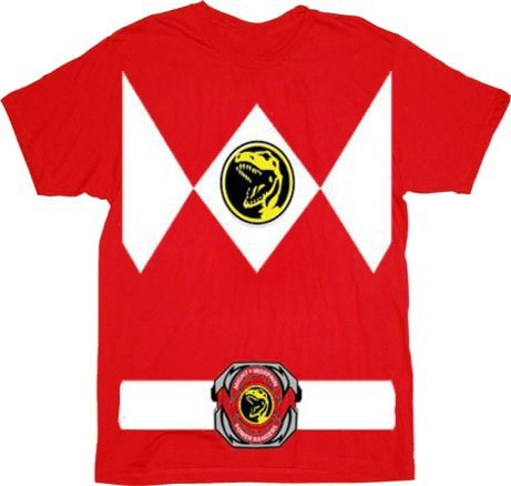 Power Rangers Red Ranger Costume Red Adult T-Shirt Tee, Large (Black Ranger Shirt compare prices)
