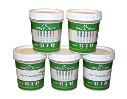 25 Pack #ECDOA-1144A3 Easy@home 14 panel Instant Drug Test Cup Testing 14 Different Drugs plus 3 adulterations and temperature strips. Tests Amphetamine (AMP), Barbiturates (BAR), Benzodiazepines (BZO), Cocaine (COC), Marijuana (THC), Methadone (MTD), Met