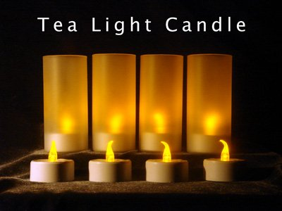 4 Yellow Amber Color LED Electronic Blowable Blow Out Candle Tealight Tea Light Voltive Holder