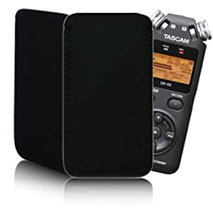 Quality Neoprene Rubber 'Black' Pouch (L) for Sony ICPX312M 2GB Digital Portable Stereo / Voice Recorder - Shock and Water Resistant Case Cover
