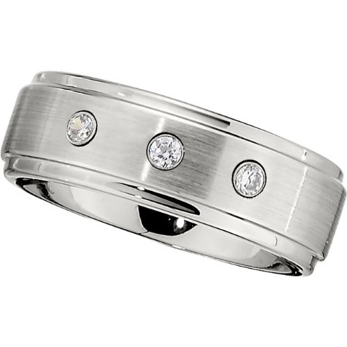 Cobalt Chrome, Three Diamond Satin with Polished Edge Wedding Band, 1/10 cttw (sz 9.5)