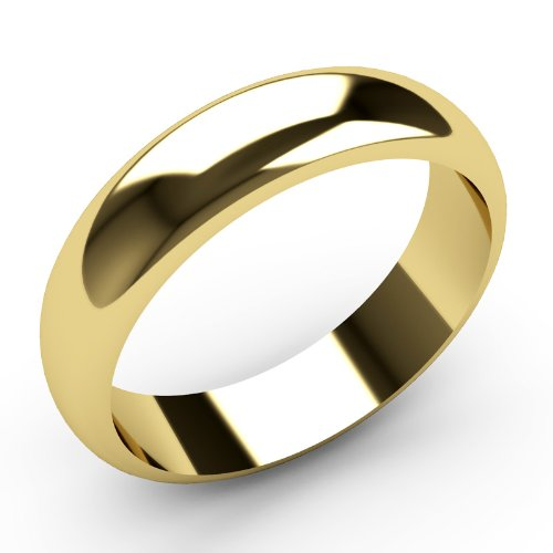 9ct Yellow Gold Wedding rings 5mm Width D Shaped Band Heavy Weight.