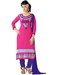 Yehii Semi Stitched Salwar Suit For Women Free Size Party Wear Dress Material Pink | Chanderi , Cotton , Chiffon...