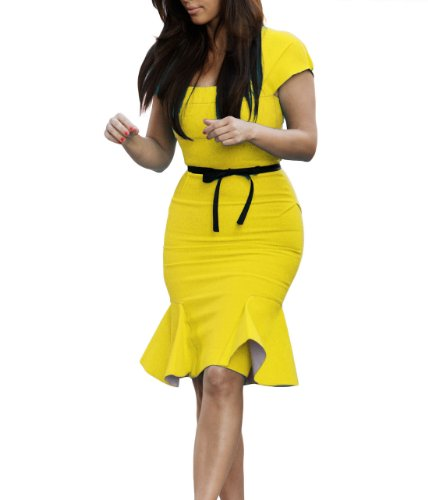 Miusol Women's Casual Peplum Bow-Knot Belt Fitted Bodycon Party Dress, Yellow, Medium
