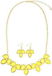 Merdia Statement Bubble Yellow Drop Necklace and Earring Set [Jewelry]