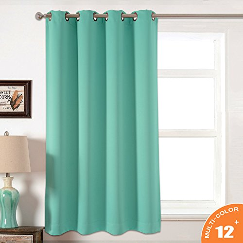 AMAZLINEN Sleep Well Blackout Curtains Toxic Free Energy Smart Thermal Insulated,52 W X 63 L Inch,Grommet Top,1Panel Pack,13 Stylish Colors (Light Teal)