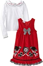 Nannette Girls 2-6x 2 Piece Heart Dogs Pullover And Jumper, Red, 4T
