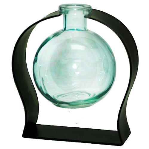 Colorful Tabletop Floral Glass Ball Rooting or Bud Vase w/Gift Box ~ Aqua G114 Colored Floral Glass Vase with Contemporary Black Metal Stand