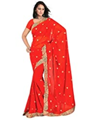 Sehgall Sarees Faux Georgette Jari Embroidery Border And Booty Red Saree