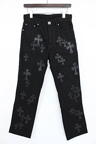(クロムハーツ) Chrome Hearts レザークロスパッチ装飾フレアニーステッチデニムパンツ(30R/ブラック×シルバー) メンズ 中古