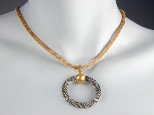 Circle Mesh Necklace with Gold Mesh Strand and Rhodium Circle Drop
