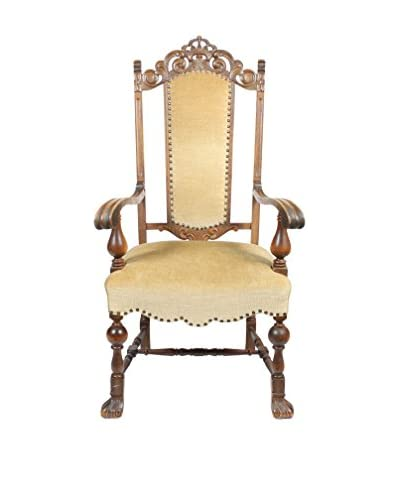 Vintage 1930s English William & Mary-Style Armchair, Green/Oak