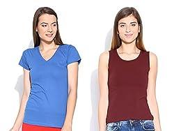 Happy Hippie Women's Combo T-shirt Blue-Maroon