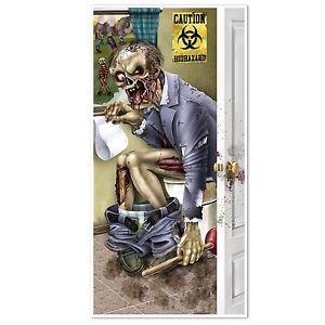 [HALLOWEEN Walking Dead Party ZOMBIE RESTROOM Bathroom DOOR COVER Decoration Prop] (Zombie Baby Halloween Prop)