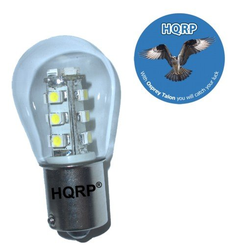 HQRP BA15s Bayonet Base 15 LEDs SMD LED Bulb Warm White for Tail light / Instrument Cluster Lights / Under hood light plus HQRP Coaster