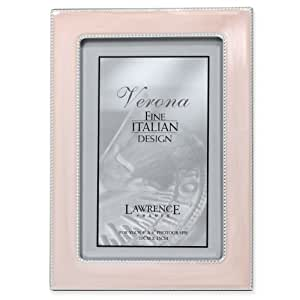 Lawrence Frames Silver Metal 4 by 6 with Swirled Pink Enamel Picture Frame with Bead Border