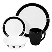 Corelle Livingware 16-Piece Dinnerware Set, Service for 4, Urban Black