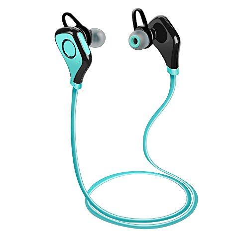 Tenswall Wireless Bluetooth Headset Stereo Cuffie Sport con Microfono e Headphone per iPhone 6s 6 Plus 5s SE, Samsung Galaxy S7 S6 S5 S4, IOS ed Altri Smartphone - Blu