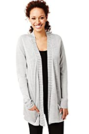 Open Front Studded Cardigan with Linen
