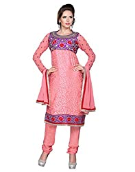 Inddus Exclusive Women Pretty Peach Semistitched Brasso Embroidered Straight Suit With Santun Botton And Chiffon Dupatta