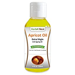Pure Apricot Oil - 4 oz. First Cut, Cold Pressed, Extra Virgin, Unrefined Apricot Kernel Seed Oil with Nutty Smell for Anti-Ageing, Face Moisturizer, Body Oil, Sensitive Skin, Acne and Chapped Lips