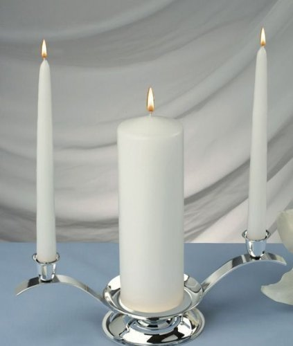Elegant Unity Candles (Set of 3) Color: White